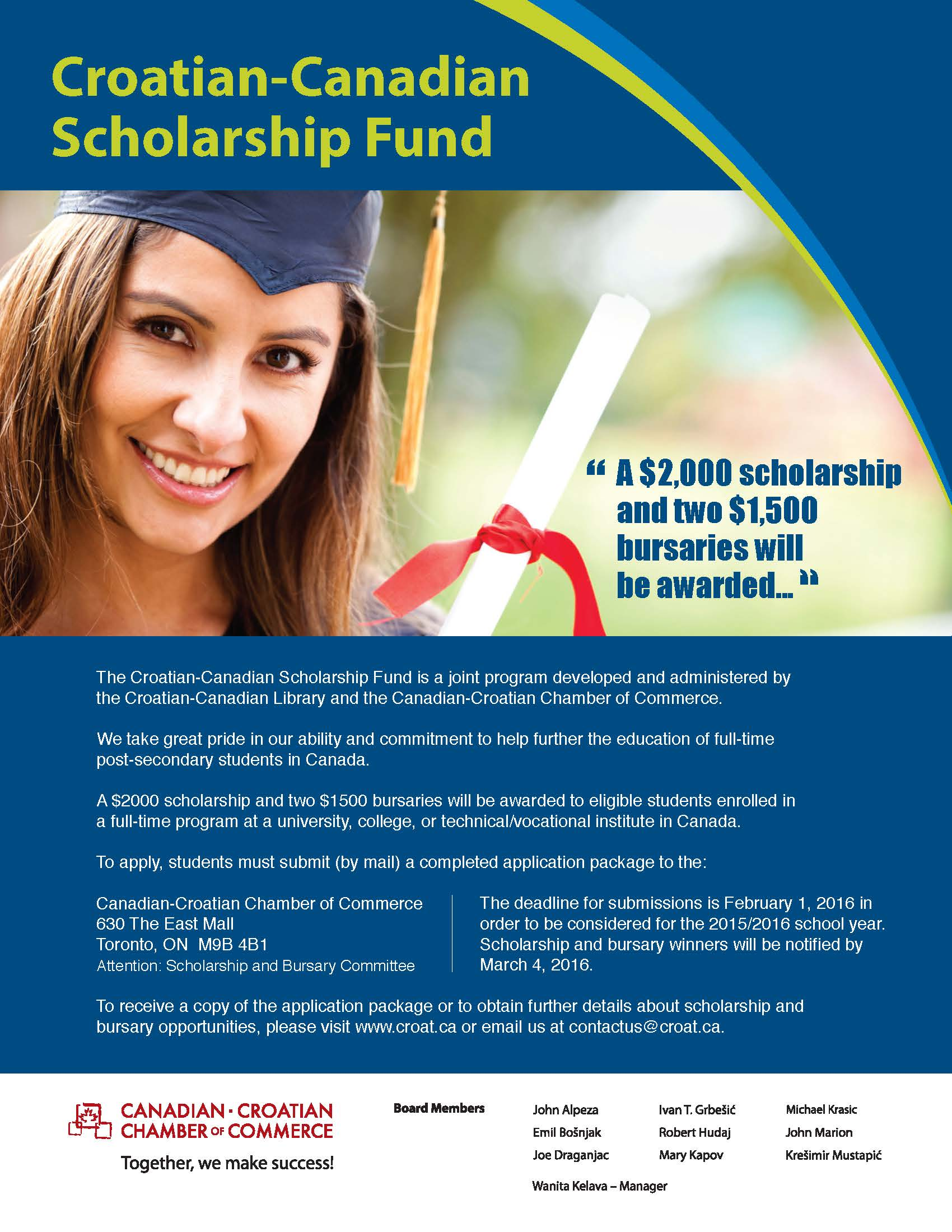 Scholarships For College Students 2016 >> Studying In Canada Croatian Canadian Scholarship Fund Is Accepting