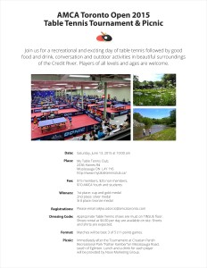 AMCA Toronto Open 2015 Table Tennis Tournament & Picnic